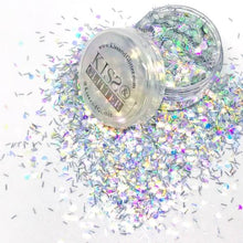 Product Photo with Packaging of silver and iridescent white Chunky Festival glitter by Kiss & Glitter