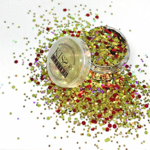 Product Photo with Packaging of holographic gold and red Chunky Festival glitter by Kiss & Glitter