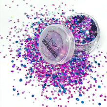Product Photo with packaging of Pink, Purple, blue and Silver holographic festival glitter by Kiss & Glitter