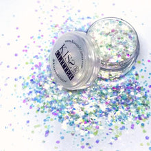 Product Photo with Packaging of iridescent White Chunky Festival glitter by Kiss & Glitter