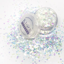 Product Photos with packaging - Marilyn iridescent white Chunky Glitter by Kiss and Glitter