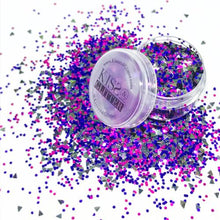 Product Photo with Packaging of Dark Purple and pink Chunky Festival glitter by Kiss & Glitter