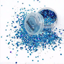 Product Photo with Packaging of Blue and Holographic Silver Chunky Festival glitter by Kiss & Glitter