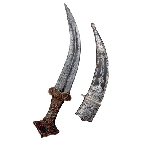 Mughal Bone Hand Dagger Blade With Beautiful Silver Inlay Fitting Assorted Koftgari Designed - 12 Inches