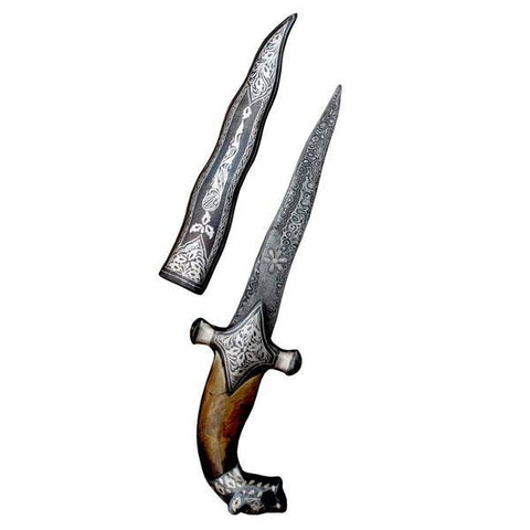 Royal Times Handmade Snake Shaped Dagger Blade With Silver Inlay Designing - 10 Inches