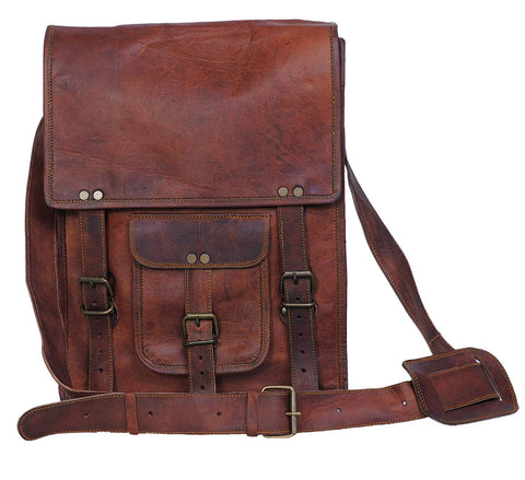 Goat Handmade Sturdy Leather Messenger Bag - Fits Ipad/ Mackbook/Mobile Accessories/Book - 11 Inches