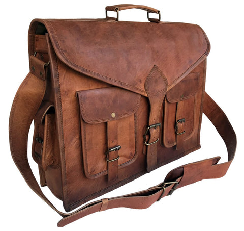 Great Rustic Vintage Leather Messenger Bag Laptop Bag Briefcase For Office / Travelling Purpose - 18 Inches