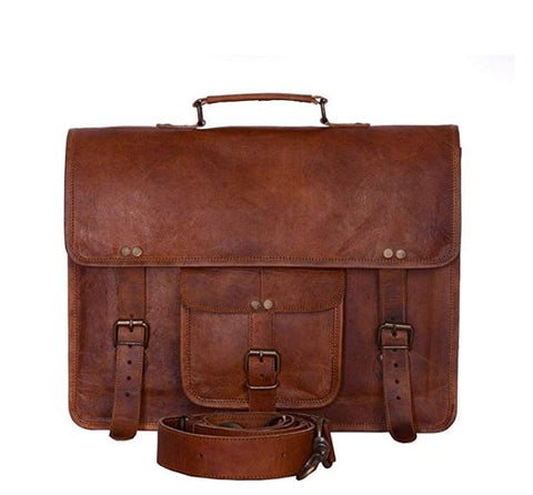 ININDIA Luxurious Pure Leather Vintage Messenger/ Laptop Bag Briefcase For Men And Women Upto