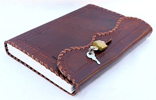 ININDIA Handmade Leather Journal Real Lock and Key Notebook/ Diary/ Sketchbook - 10x7 Inches