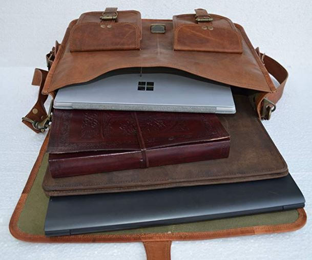 ININDIA Pure Glossy Handmade Leather Messenger Laptop Bag With Buckle Lock - 16 Inches
