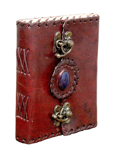ININDIA Pure Genuine Real Vintage Hunter Leather Diary / Leather Journal Handmade paper For Office/Home To Write Poem Daily Update With attractive 2 Metal Lock And Engraved Shinning Stone -  6 Inches