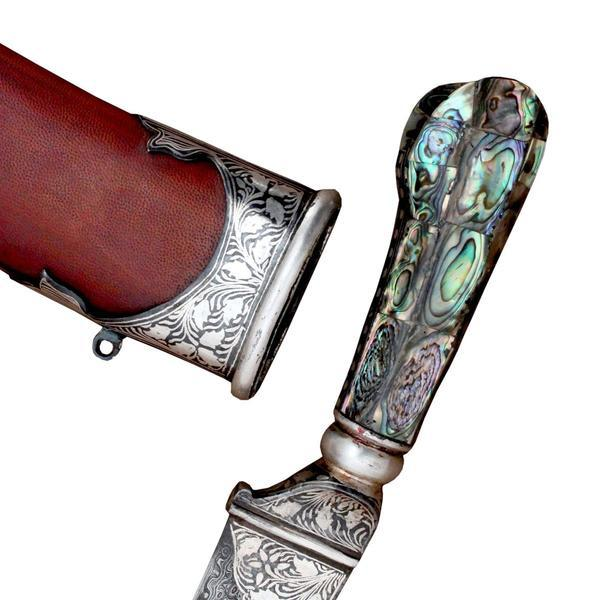 Specialized Mughal Artwork Engraved On Handmade Silver Steel Blade Dagger With Pure Leather Brown Cover -15 Inches