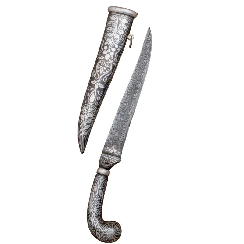 Indo - Persian Silver Koftgari Worked Damascus Blade Knife Dagger Royal Ancient Medieval Times - 10 Inches