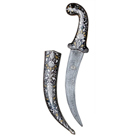 Royal Ancient Silver And Gold Blade Dagger Beautifully Engraved With Mughal Artwork Defense Weapons