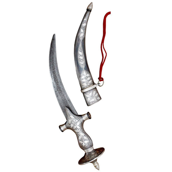 "Dagger - 10"" Inches Indo Persian Mughal Daggar With Silver Koftgiri"