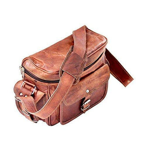 IN INDIA Real Leather Vintage Plus Modern Leather Camera DSLR And Regular Use Bag- Fits 8 Inches
