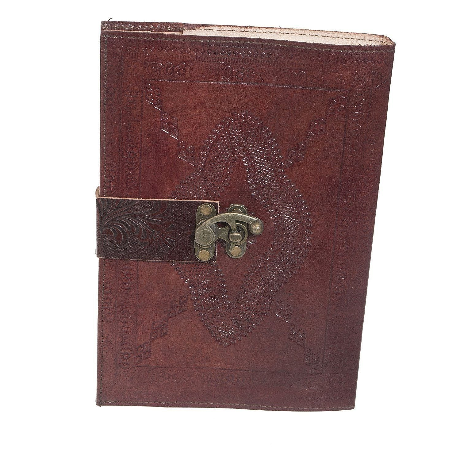 ININDIA House Pure Genuine Real Vintage Leather Handmadepaper Notebook Diary For Office Home To Write Poem Daily Update - Brown Size Of 9*7