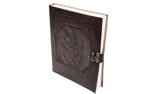 ININDIA  Pure Genuine Real Vintage Leather Handmadepaper Notebook Diary For Office Home To Write Poem Daily Update - Brown Size Of 10 Inches