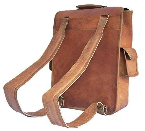 Leather - IN-INDIA Brown Handmade Vintage Satchel Leather Rucksack Backpack - Unisex