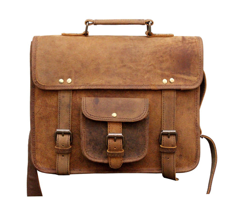 Leather - IN-INDIA Buffalo Hunter Leather Cute Regular Use Messenger Satchel Bag- Fits Laptop Upto 13.3 Inches
