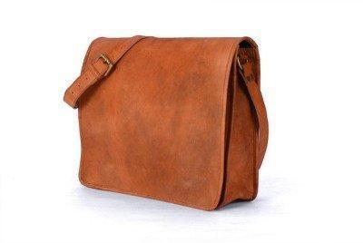 Leather - IN-INDIA Full Flap Hunter Leather Brown Messenger Satchel Bag- Fits Laptop And IPad All Sizes