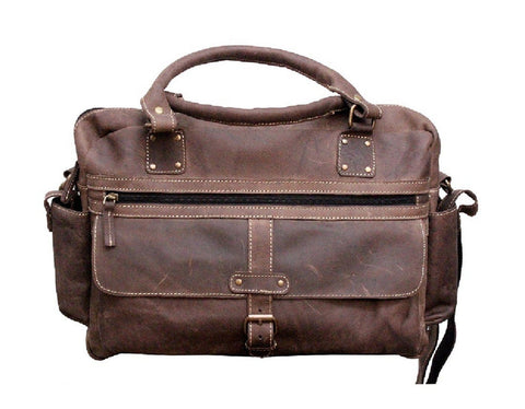 Leather - IN-INDIA Genuine Buffalo Leather Dark Handsome Styled Handmade Carry Messenger Satchel Unisex  Bag - Fits Laptop Upto 15.6 Inches