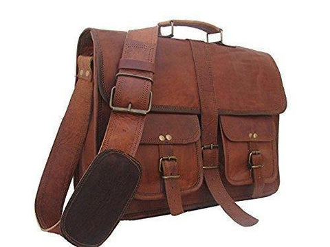 Leather - IN-INDIA Hard Bound Men Hunter Pure Leather Briefcase Messenger Bag - Fits Laptop Upto 15.6Inches