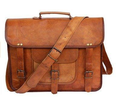 Leather - IN-INDIA Large Bold And Stylish Hunter Leather Handcrafted Messenger Office Regular Bag Fits Laptop