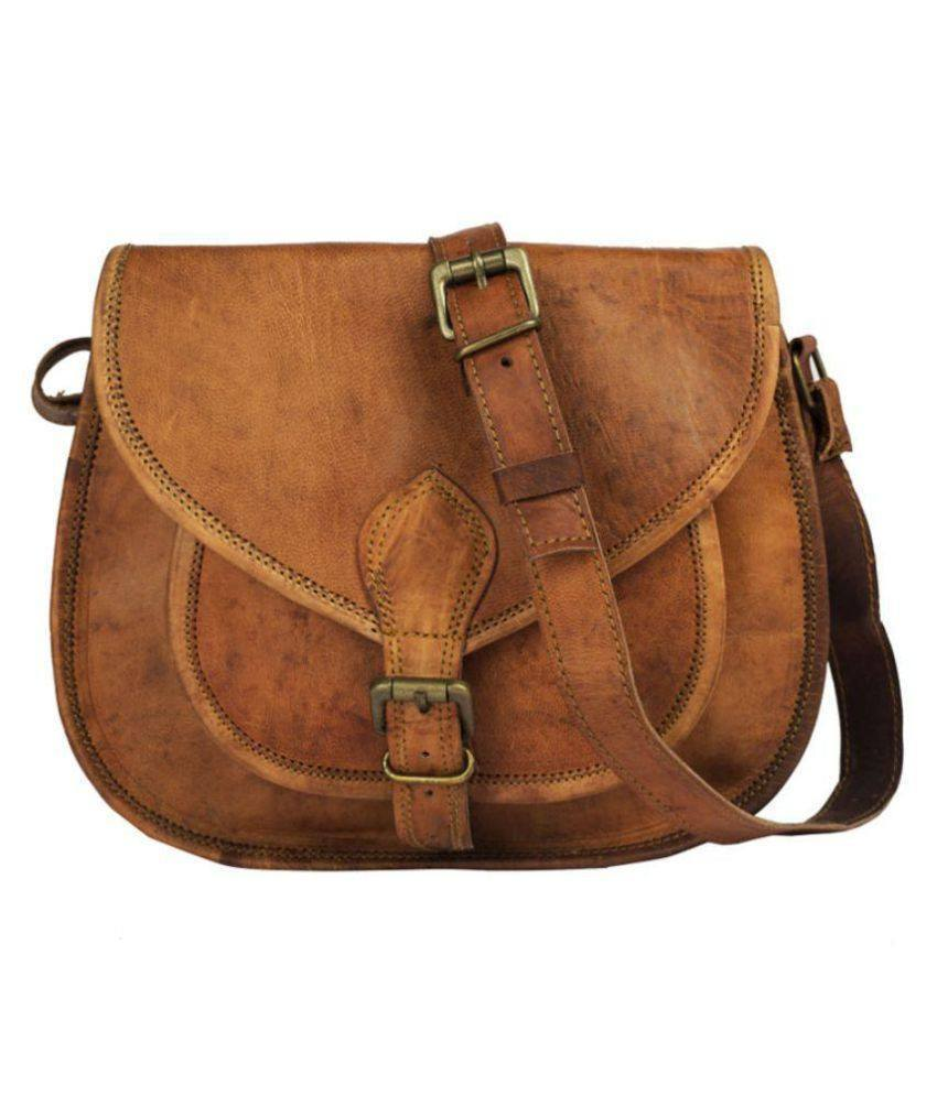 Leather - IN-INDIA Lichi Brown Pure Leather Casual Messenger Bag