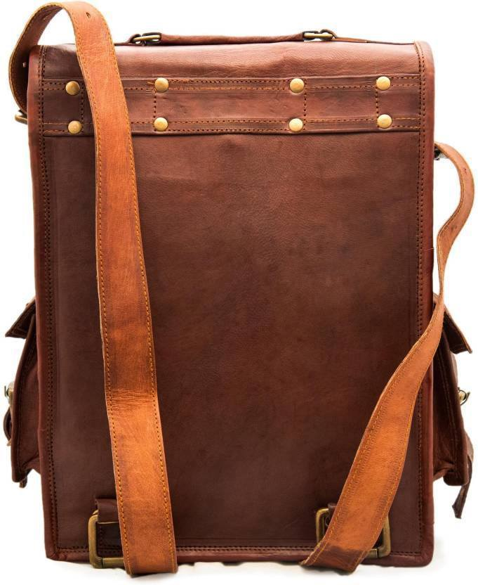 Leather - IN-INDIA Messenger Bag And 15 L Laptop Backpack  (brown)