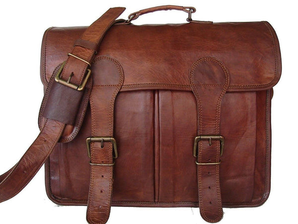 Leather - IN-INDIA Pure Leather Unisex Office Formal Travel Brown Laptop Messenger Bag - Fits Laptop
