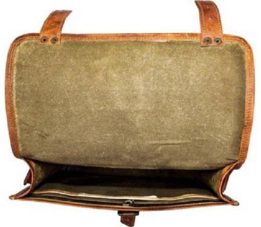 Leather - IN-INDIA Pure Vintage Leather Briefcase Styled Light- Weight Messenger Satchel Bag - Fits Laptop Upto 13.3 Inches