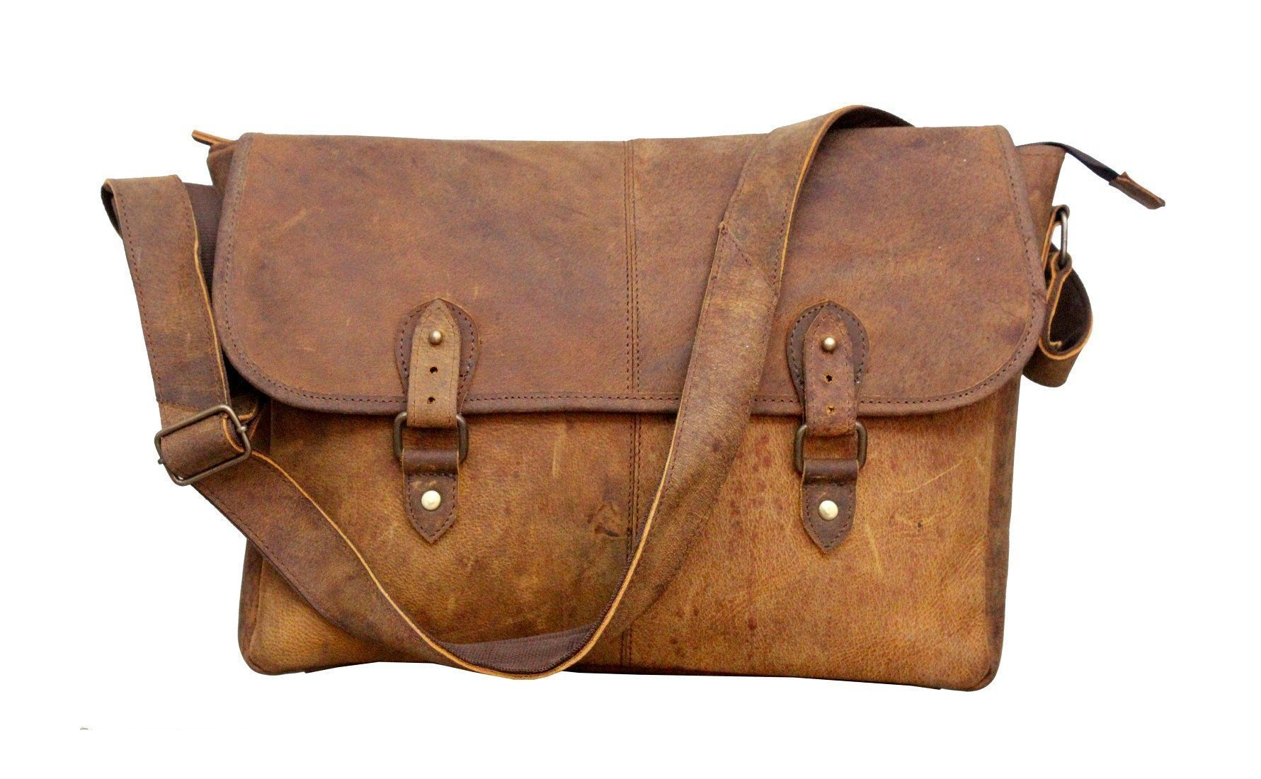 Leather - IN-INDIA Real Buffalo Leather Regular Use Stylish Hunter Messenger Bag -Fits Laptop Upto 15.6 Inches