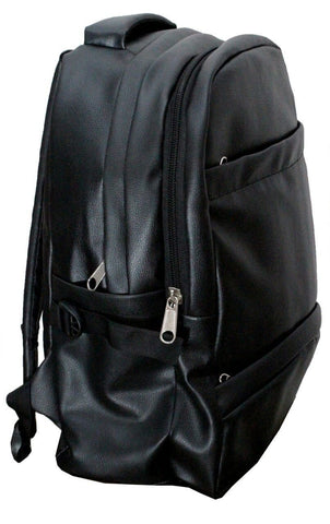 Leather - IN INDIA School/College Office PU Leather Backpack - Jet Black ( Shiny Finish)