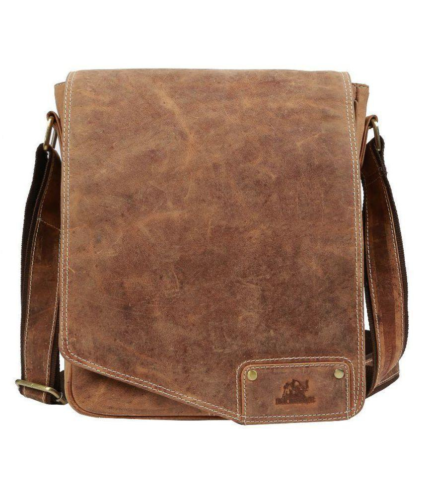 Leather - IN-INDIA Unisex Full Flap Regular Use Leather Satchel Messenger Bag - Fits Laptop