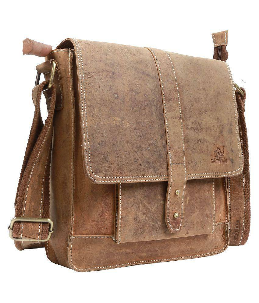 Leather - IN-INDIA Unisex Stylish Regular Use Pure Leather Glowy Brown Messenger Bag