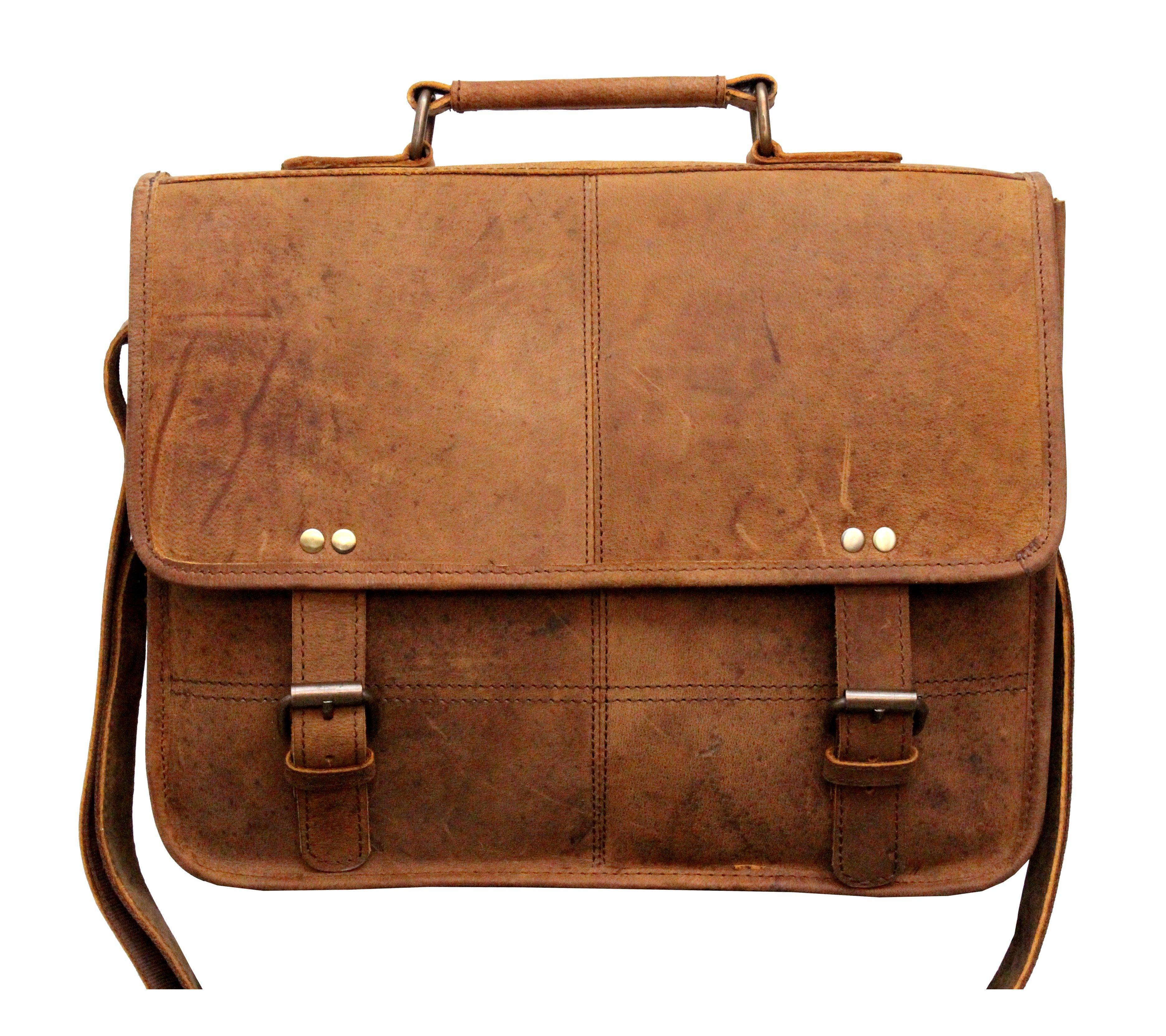 Leather - IN-INDIA Vintage Buffalo Leather Messenger Satchel Laptop Briefcase