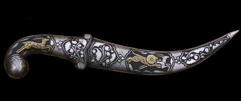 Original SIlver And Gold Hand Engraved Dagger : Damascus Blade