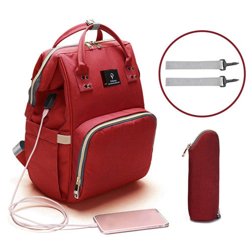 sac a langer multipoche rouge