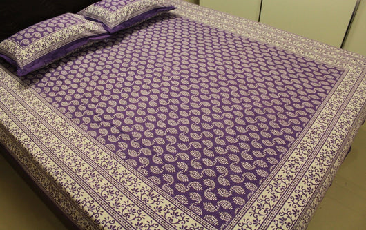 Cotton Bed Sheets Pillowcases King Queen Paisley Purple Block Printed  Bedspreads