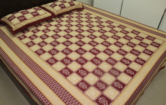 Indian Cotton Bed Sheets Pillowcases Set King Floral Brown Block Printed  Bedspreads