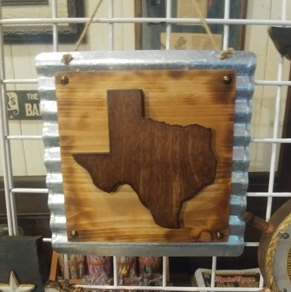 Texas Wood on Tin Wall Art
