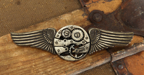 Antique Gear Wings Pin