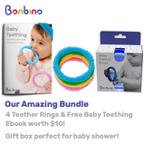Bonbino Unisex Baby Teether Rings with Ebook