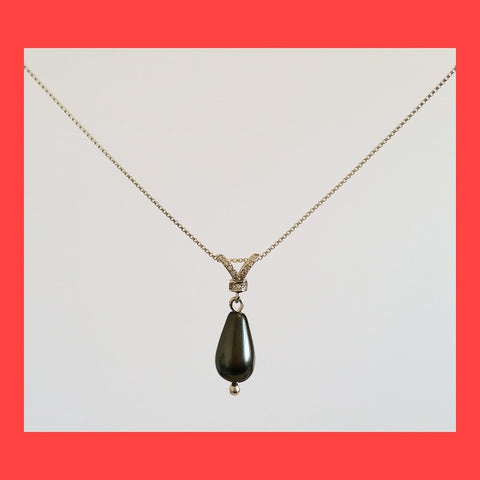 Necklaces; Black Drop Pearl