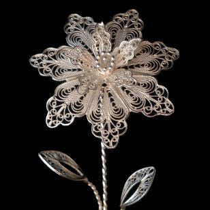 Solid Silver Filigree Flower