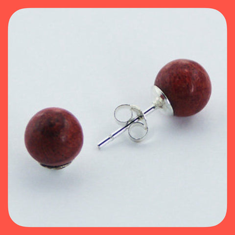8mm Sponge coral and sterling silver stud earrings