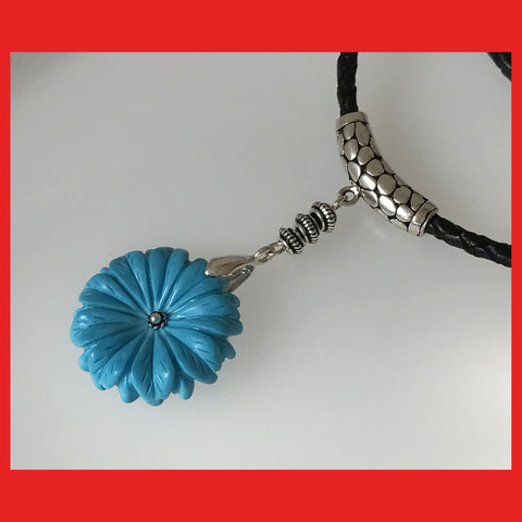 Turquoise Flower pendant with Leather Chain