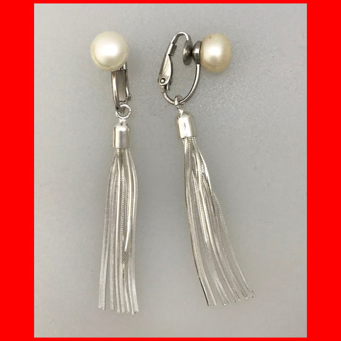 Pearl and Tassel Clip on Earrings