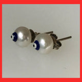 Freshwater Pearl earrings Stud with Evil eye